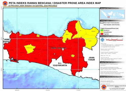 Peta indeks rawan bencana jawa tengah