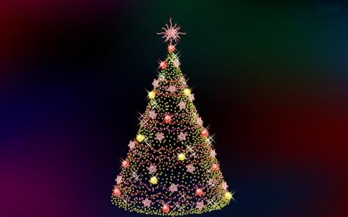 Wallpaper lampu pohon natal